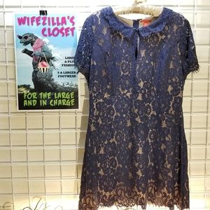 Chelsea & Violet Blue Lace Tunic/Mini Dress XL